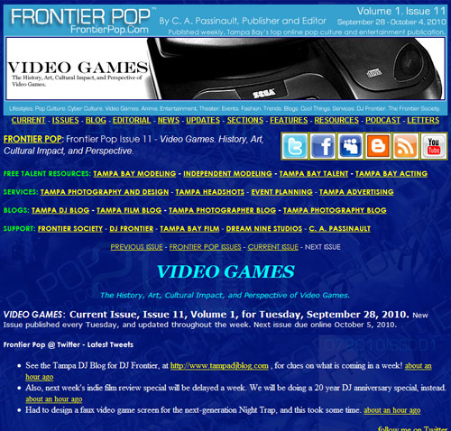 Frontier Pop Issue 11: Video Games. The History, Art, Cultural Impact, and Perspective of Video Games.