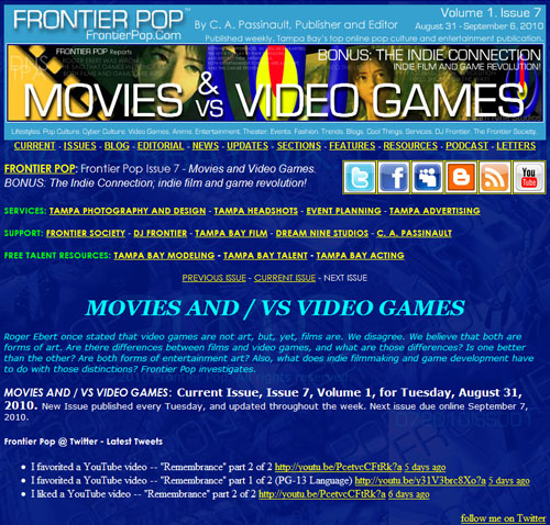 Frontier Pop Issue 7: Movies And / VS Video Games