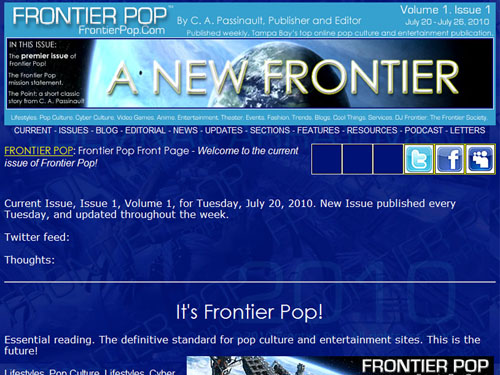 Frontier Pop first issue beta test screen.