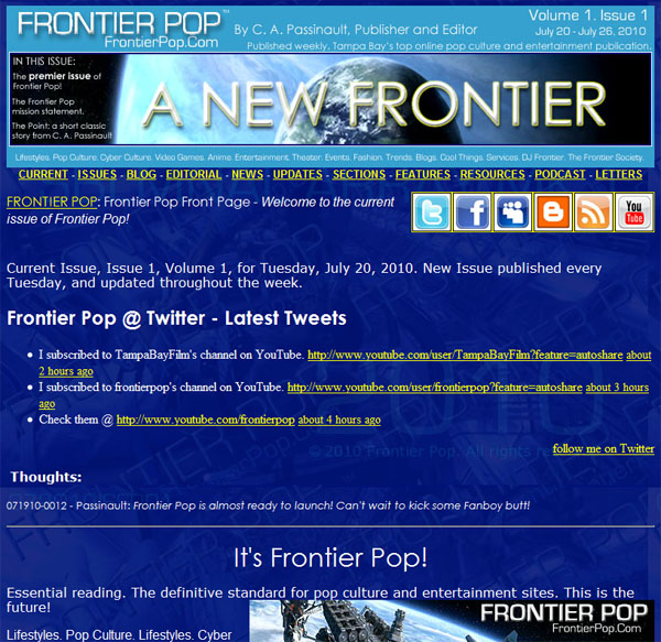 The brand new Frontier Pop site is just about ready to launch! It sits idley, ready to conquer all!