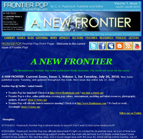 Frontier Pop issue 1, Volume 1: A New Frontier. Our premier issue!