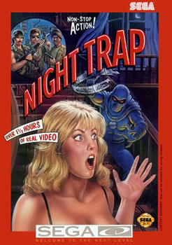 A misleading cover for the Sega CD version of Night Trap. Yes, I have this in the studio!